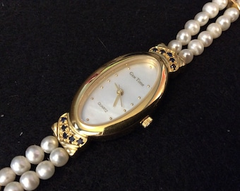 Vintage Gem Time Freshwater Pearl and Sapphire Wrist Watch