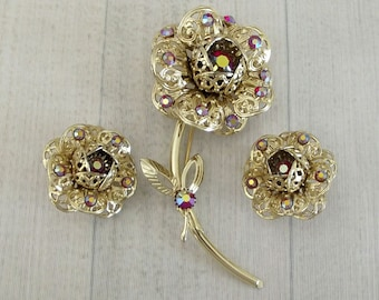"Big Vintage Sarah Coventry ""Fashion Flower"" Pin And Earring Set, Red Aurora Rhinestones, Sarah Cov Brooch Clip Ons, 1960s Floral Jewelry"