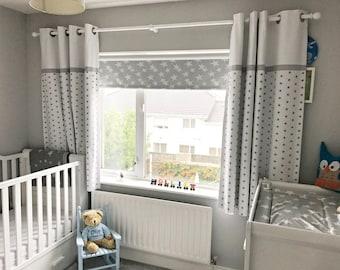 Gray Stars Nursery Curtains Grey White Curtain Panels Blackout Nursery  Curtains With Blackout Lining