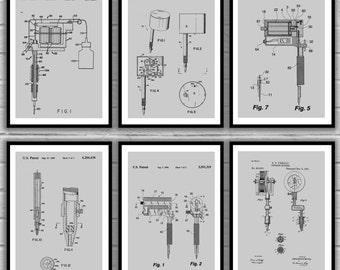 Tattoo machine patent print set of 4 tattoo gun design tattoo patent prints set of 6 tattoo patent tattoo poster tattoo gun malvernweather Image collections