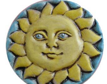 Wall decoration. Sun and Moon. Terracotta Sun