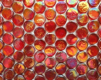 Ruby Red PENNY ROUND Iridescent Transparent Glass Mosaic Tiles//Craft Supplies//Circles//Mosaics