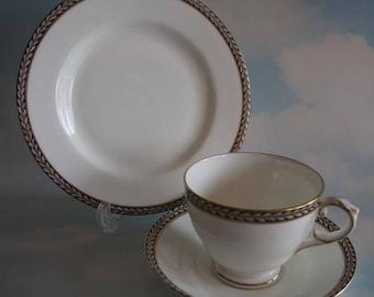 Vintage Crescent China Teacup Trio, George Jones & Sons Cup Saucer Plate Set, Elegant White w/- Cobalt Blue and Gold Trim, Circa 1924~1951