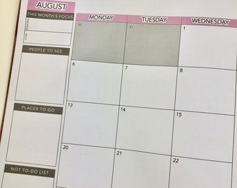 Months & Days of the Week Headers ( Entire Year) for the Monthly Layout Section in the *New* PASSION PLANNER PRO