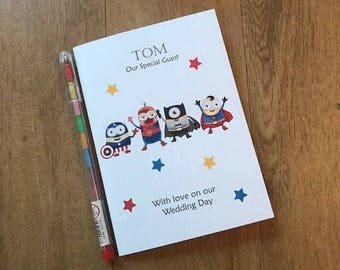 A6 Personalised Childrens/kids Wedding Activity Book Pack Favour - Minions Superhero Inspired