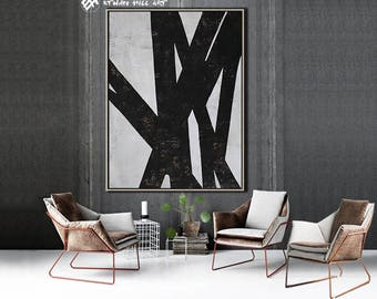 Original Painting Black White Abstract Painting, Large Wall Art Contemporary Art, Vertical Geometric Art - Ethan Hill Art No.H77V