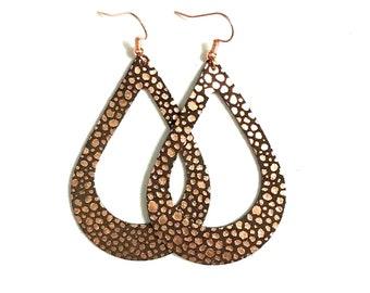 Large Leather Earrings; Leather Earrings; Teardrop Earrings; Rose Gold, Brown Earrings; Lightweight; Statement Earrings