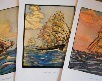 Clipper Collection, Set of 3 Ship prints, Nautical art, Vintage 1930s
