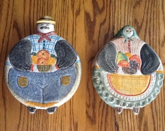 Hand-Painted Italian Ceramic Man and Woman Trivets or Wall Hangings, The Cellar, Macy's NYC 1996