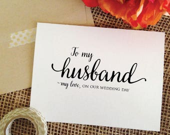 To my husband on our wedding day card for husband wedding card husband gift wedding gift for husband wedding gift husband card