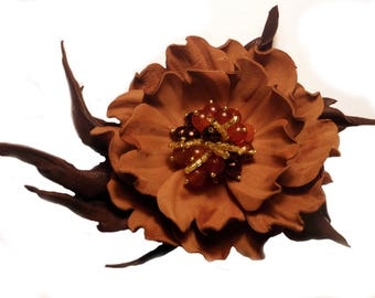 Leather flower Brown brooch  Leather anniversary Leather brooch Leather jewelry Leather corsage brooch Elegant brooch anniversary gift