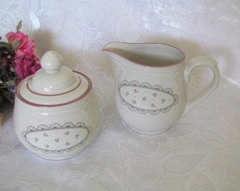 Vintage Victoriana Japan Creamer and Sugar Bowl with Lid  Floral Rose Pink design