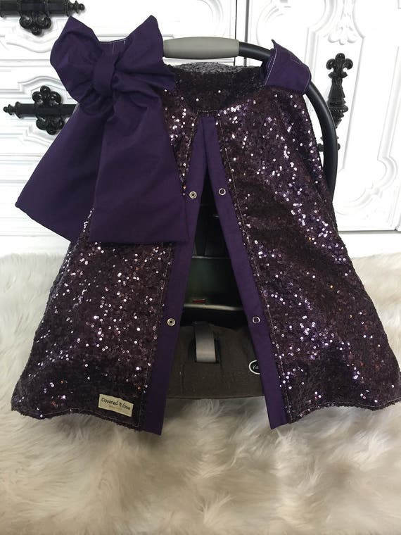 CAR SEAT COVER / car seat canopy / nursing cover / carseat cover / carseat canopy / ooak / sequin / infant car seat cover / purple / sparkle