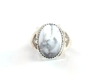 Handmade Native American Navajo Sterling Silver Howlite Ring Size 9.5