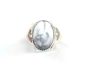 Handmade Native American Navajo Sterling Silver Howlite Ring Size 11