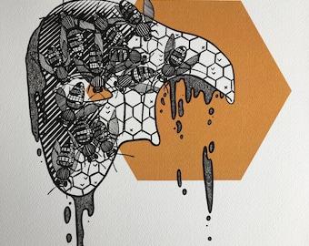 Masked Animalia Print, I Am Teeming with Bees