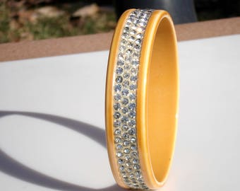 Art Deco Era Celluloid Flapper Bangle with Sparkling Cut Glass Stones