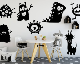 Alien Wall Decal Set, Outer Space Decal, Living Room Decor, Bedroom Decor