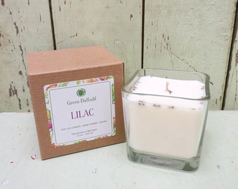 Lilac Soy Candle - 12 oz. Glass Cube - Green Daffodil - Hand poured -CG