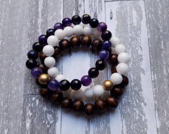 Purple, White, Wood Bead Trio