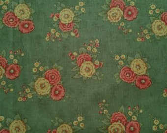 Pink & Yellow Floral Blooms on Green Background - Cotton Fabric