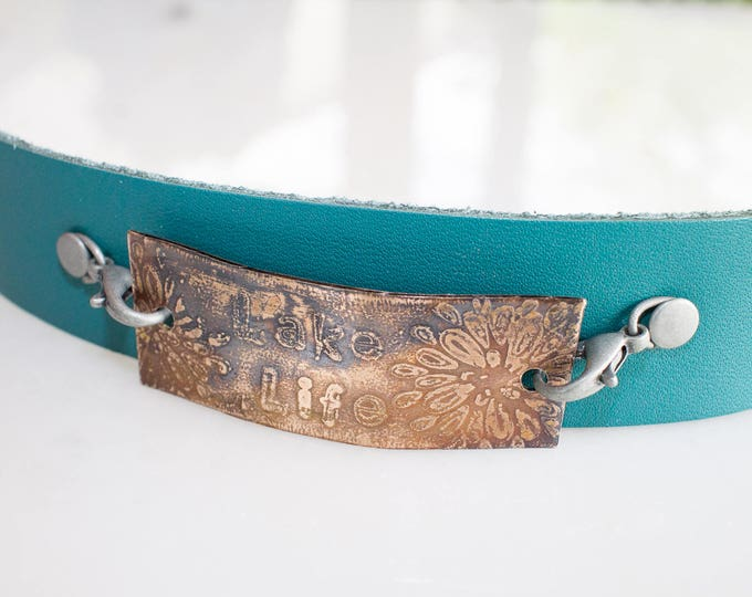 Lake Life blue leather and bronze bracelet, leather bracelet, bronze bracelet, bronze etched bracelet, cuff