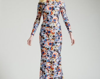 SALE Blue Dia De Los Muertos Long Sleeved Swan Necked Maxi Gown with Train