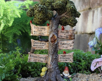 The Sign Says Tree and Gnome for the Fairy Garden