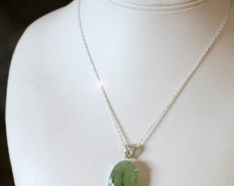 Green Apple Frost - Faceted Prehnite Sterling Silver Necklace