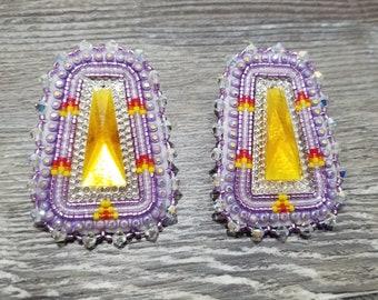 Purple/Gold Center Earrings