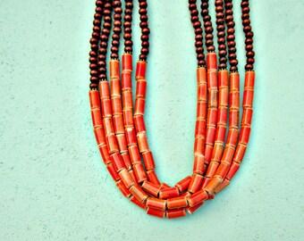 Cinq chapelet bois foncé et céramique corail vif perles collier réglable longtemps Convertible : Sultan