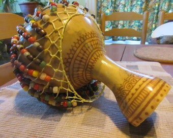 Shekere', homegrown, hand decorated, hand beaded, henna'd, Hand titled: Indian Corn....one of a kind