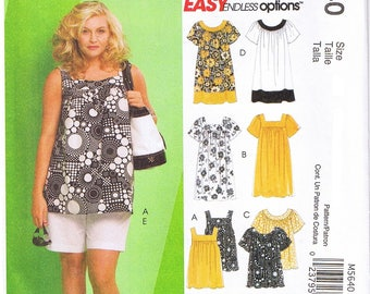 Easy Womens Tops Dress Yoke Variations Shorts Capri Pants Elastic Waist Pull-On McCalls 5640 Sewing Pattern Plus Size 18W 20W 22W 24W