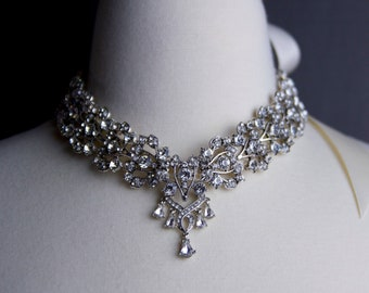 Bridal Rhinestone Necklace, Crystal Necklace, Bridal Choker, Ribbon Necklace, Bridal  ,Great Gifts for Her, Statement Wedding Necklace
