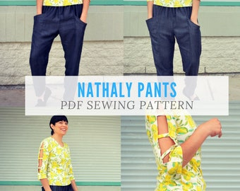 The Nathaly Pants PDF sewing patterns and sewing tutorial for women clothing.  Printable sewing pattern in sizes 4 to 22 including plus size
