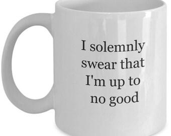 Hogwarts express, mischief, deathly hallows, solemnly swear, harry potter mug, Hogwarts school, harry potter fan, I solemnly swear