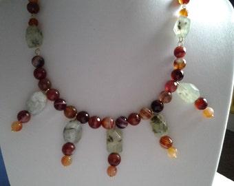 Prehnite and Carnelian statement necklace