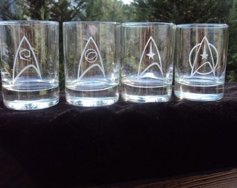 Star Trek Rocks Glass Set by Jackglass on Etsy