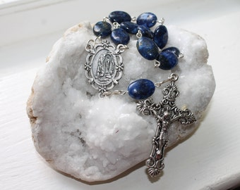 Our Lady of Lourdes Catholic Pocket Rosary with Lapis--Catholic Pocket Rosary-Lourdes St. Bernadette Rosary-Handmade