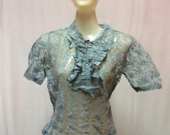 1920's Blue Lace Blouse with Plastic Crystal Buttons