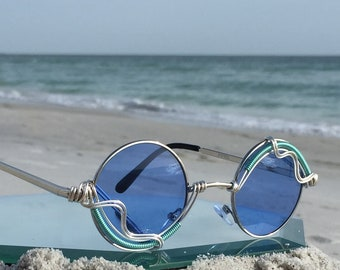 Blue Clear Unisex Small Round Sunglasses ~ SPUNGLASSES ~ Artisan Silver Mens Womens Festival Retro Sunglasses Sunnies Eyeglasses Eyewear