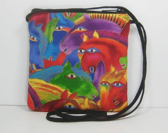 Colorful Horse Heads on Laurel Burch Fabric, Caryn Purse