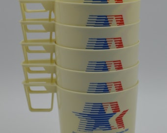 Set of 6 Anchor Hocking 1984 Olympic Stackable Mini Cups