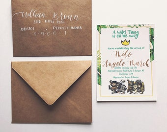 Where the wild things are baby shower invitations/envelope set | Set of 10 | Custom calligraphy