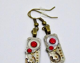 Earrings - Steampunk ear gear - Ruby - Waltham - Steampunk Earrings - Repurposed