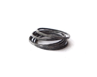 silver stacking rings - OXIDIZED - one ring