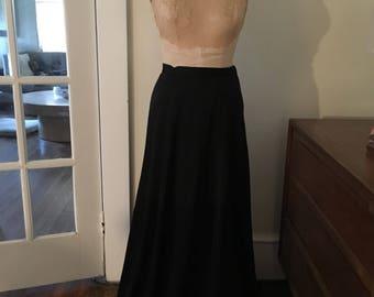 1970s Black Maxi Skirt Hostess Skirt Formal Skirt Vintage Prom