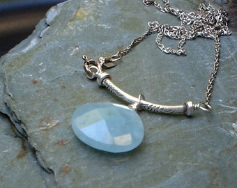 Chrysoprase Pendant Necklace Blue Gemstone Sterling Silver Chain Necklace