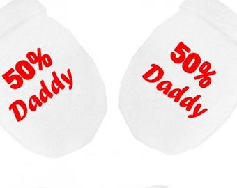 50% daddy other daddy print baby scratch mitts mittens gloves baby shower new baby gift idea 2 daddy's