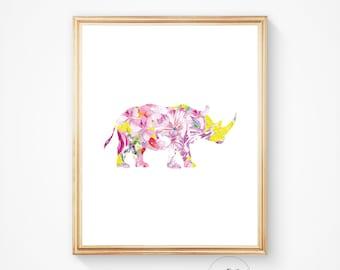 Rhino print rhino art, rhinoceros print rhino art print rhino printable watercolour print colourful print Safari print printable art